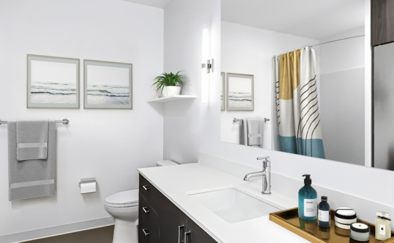 Spacious bathroom with storage and wide counters
